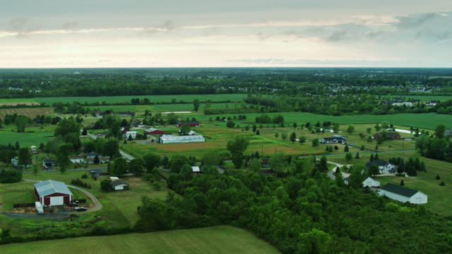 drone flight over rural michigan landscape in monroe county - michigan stock videos & royalty-free footage