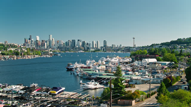 drone flight over seattle marina on lake union with downtown skyline in distance - establishing shot stock videos & royalty-free footage