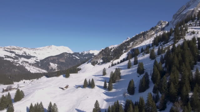 drone flight over some alpine mountains - chalet video stock e b–roll