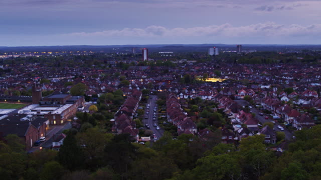 drone flight over southampton common at twilight - hampshire england stock videos and b-roll footage