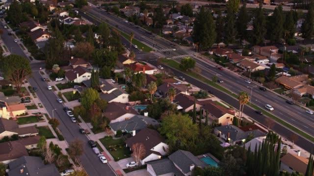 Drone Flight Over Suburban Houses with Upward Tilt - Northridge, CA