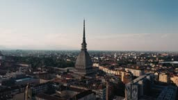 Drone flight over the center of Turin in Italy