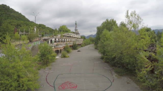 Drone flight over the ghost town of Consonno, Lombardia