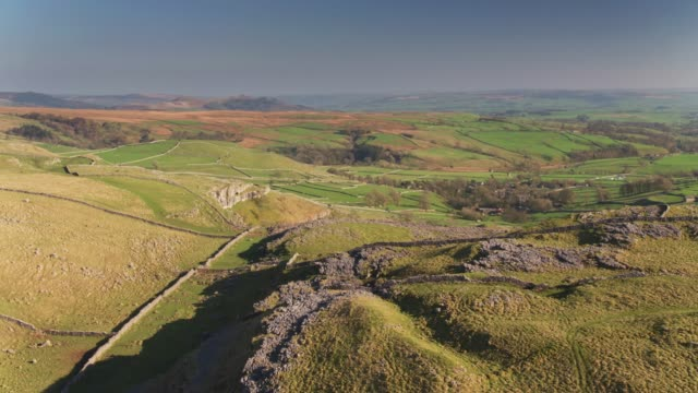 Drone Flight Over the Hills Above Malham, North Yorkshire