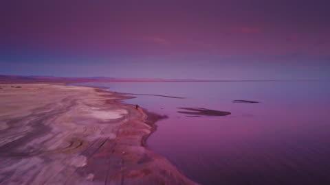 drone flight over the salton sea during purple twilight - purple stock videos & royalty-free footage