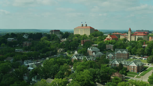 drone flight over the university of kansas - kansas stock videos & royalty-free footage