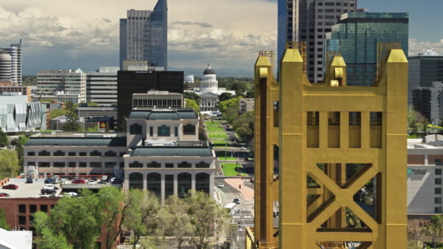 drone flight over tower bridge and california state capitol mall - capital cities stock videos & royalty-free footage