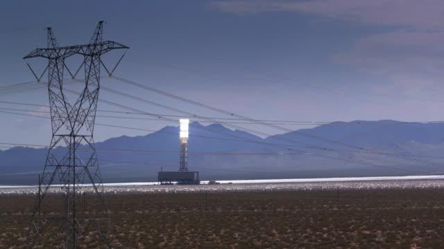 Drone Flight Past Power Lines at Ivanpah Solar Facility