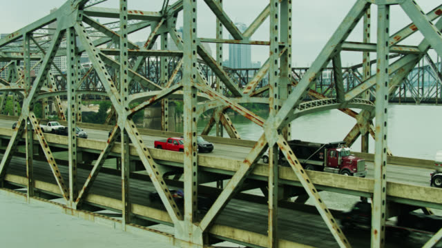 drone flight past traffic on brent spence bridge - ohio stock videos & royalty-free footage