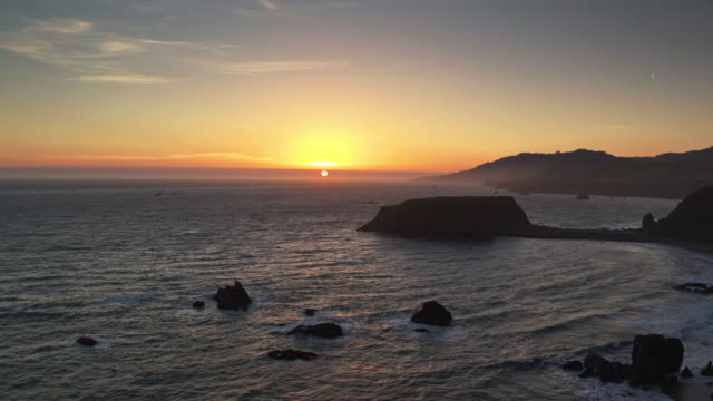 Drone Flight Towards Goat Rock, Jenner, CA at Sunset