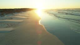 Drone Flight Towards Rising Sun in Grayton Beach State Park, Florida