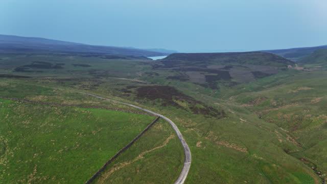 Drone Flight Towards Watersheddles Reservoir, Lancashire - Aerial