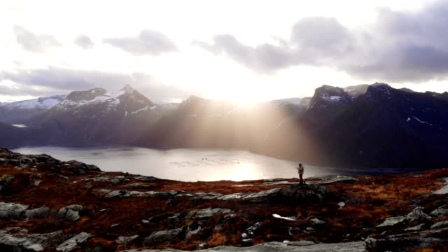 drone flying above majestic fjords on senja island. man on mountain top - concepts stock videos & royalty-free footage