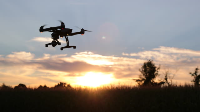 Drone flying at sunset over a field