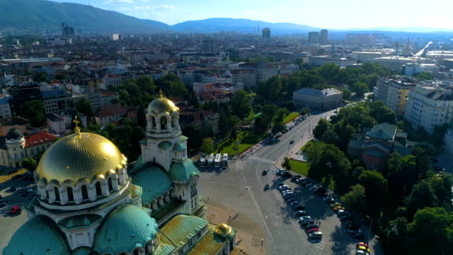 Drone flying near city cathedral church in Sofia, Bulgaria