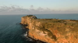 Drone flying over cape Kaliakra on a sunny day in Bulgaria