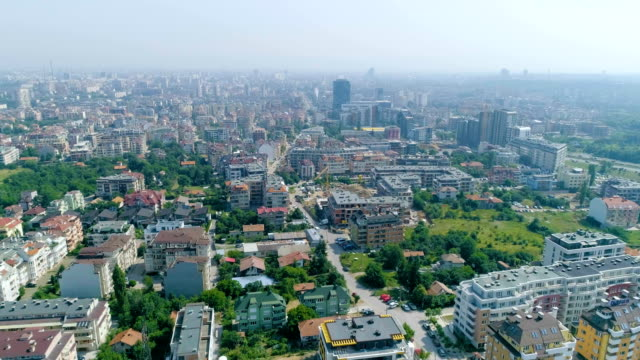 drone flying over polluted city - bulgaria stock videos & royalty-free footage