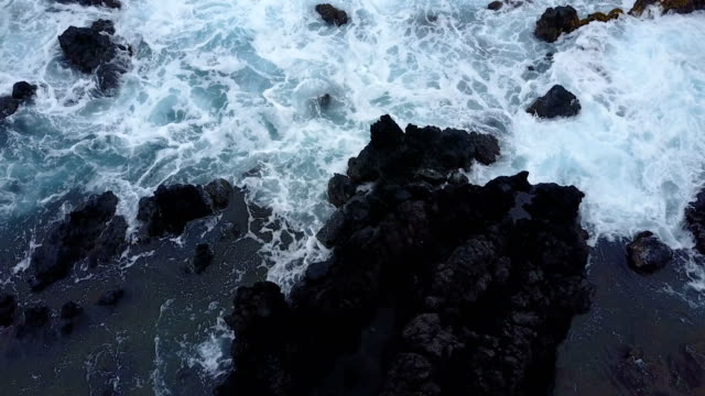 Drone Flying Toward Rocky Beach and Big Waves