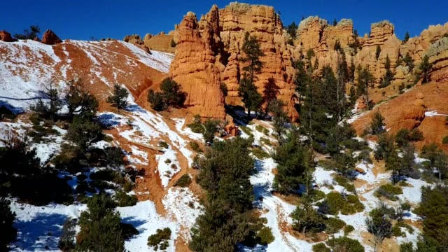 a drone flyover of hoodoo rock structures in a forest outside of bryce canyon national park - rock hoodoo stock videos and b-roll footage