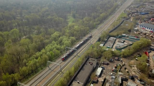 a drone follows a train outside moscow russia - russia stock videos & royalty-free footage