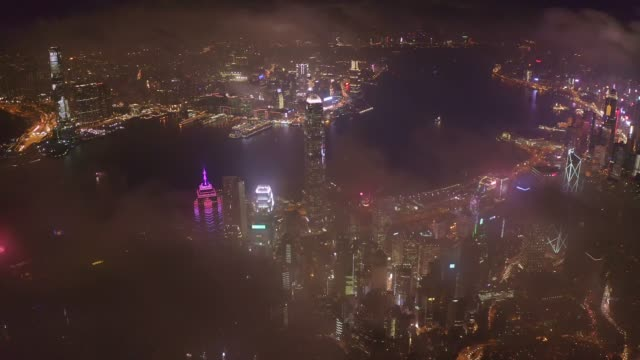 drone footage aerial view of hong kong landmark financial business district with skyscraper - aircraft point of view stock videos & royalty-free footage