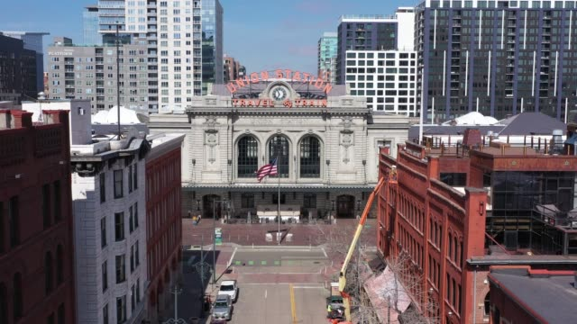 drone footage in denver at union station during covid shutdown. - denver stock videos & royalty-free footage