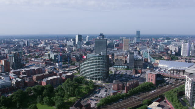 drone footage manchester victoria - manchester stock videos and b-roll footage