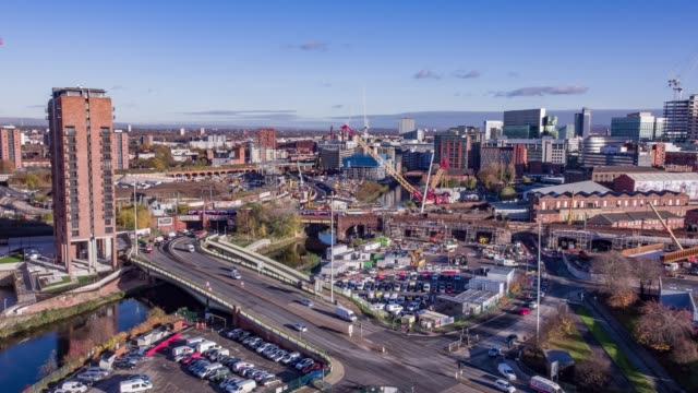 drone footage manchester - manchester england stock videos & royalty-free footage