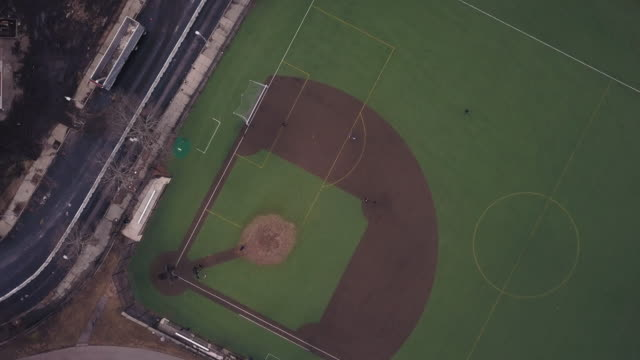 drone footage of a baseball field - boston stock videos and b-roll footage