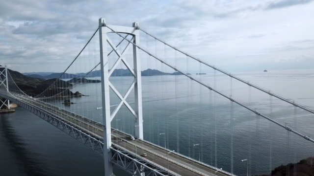 drone footage of a large suspension bridge in japan - nishiseto expressway stock videos & royalty-free footage
