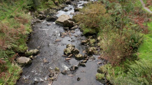 stockvideo's en b-roll-footage met drone beelden van een kleine rivier die over rotsen stroomt in landelijk schotland - zoetwater