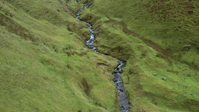 drone footage of a small stream in rural south west scotland - galloway scotland stock videos & royalty-free footage