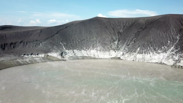 drone footage of anak krakatau volcano in indonesia after a major collapse and eruption caused a huge tsunami on 22nd december 2018 - fango video stock e b–roll