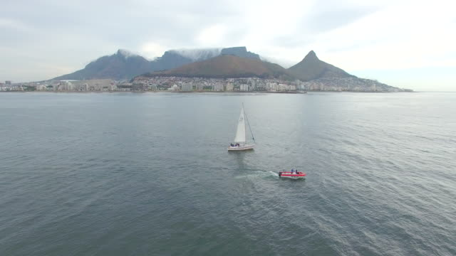 Drone footage of boats on ocean, Cape Town South Africa