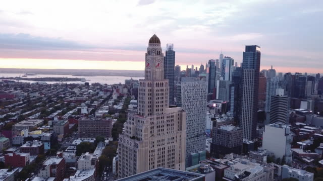 Drone footage of Brooklyn's Williamsburg Savings Bank at sunset