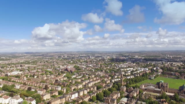drone footage of clifton in the city of bristol, england on a summer's day, showing tree-lined streets with georgian terraced houses - winter stock videos & royalty-free footage