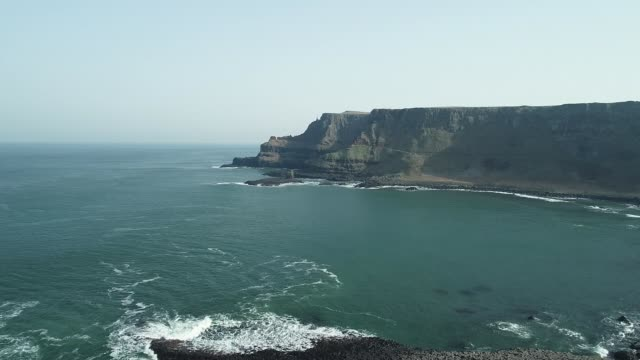 drone footage of giant's causeway and causeway coast northern ireland county antrim causeway coast giant's causeway and the causeway coast - natural column stock videos and b-roll footage