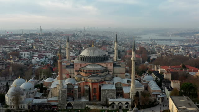drone footage of hagia sophia and blue mosque istanbul, turkey - dome stock videos & royalty-free footage