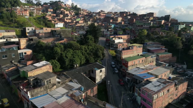 drone footage of houses in city, bogota, colombia - bogota stock videos & royalty-free footage