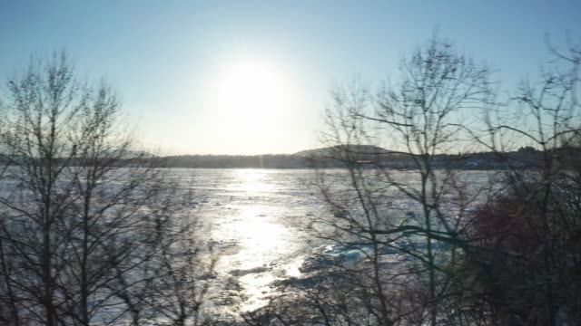 drone footage of ice on the hudson river - hudson valley stock videos and b-roll footage