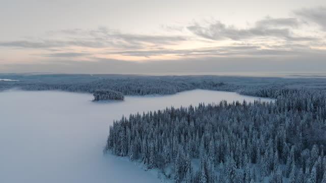 vídeos de stock, filmes e b-roll de imagens de drones da lapônia na suécia - países nórdicos