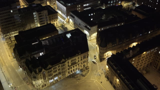 drone footage of manchester streets at night - england stock videos & royalty-free footage