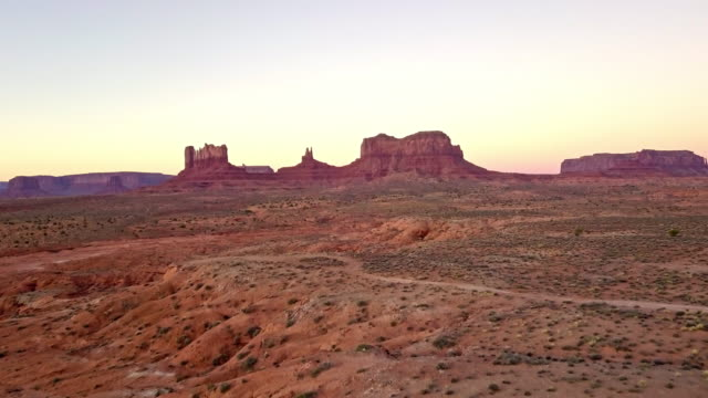 drone footage of monument valley area utah - rock formation stock videos & royalty-free footage