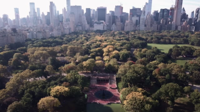 Drone footage of New York City's Bethesda Fountain in Central Park.