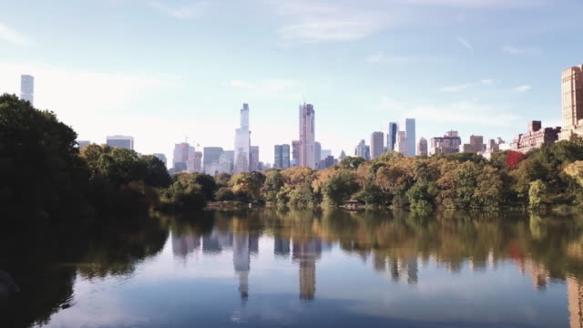drone footage of new york city's central park on a crisp autumn morning. - central park manhattan stock videos and b-roll footage