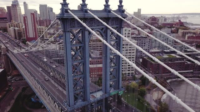 Drone footage of New York City's Manhattan Bridge on a cloudy morning.