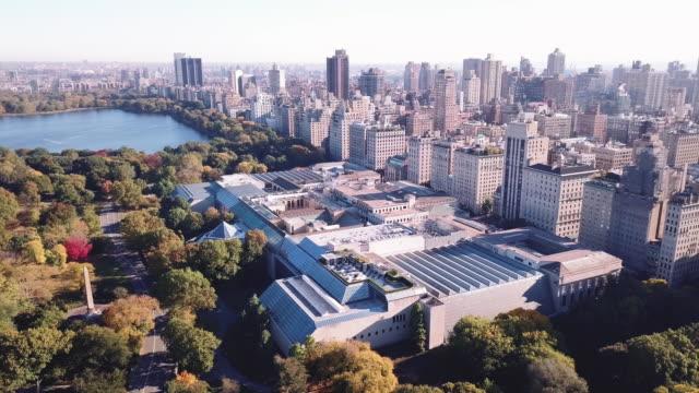 drone footage of new york city's metropolitan museum of art - museum stock videos & royalty-free footage