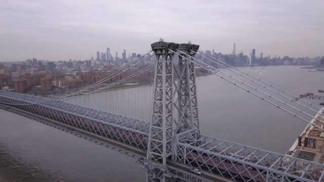 drone footage of new york's williamsburg bridge - williamsburg bridge stock videos and b-roll footage