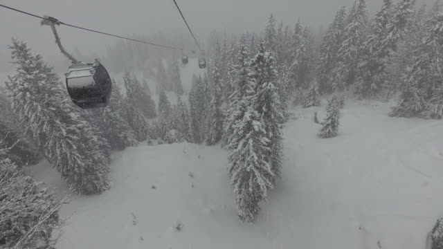 Drone footage of overhead cable cars over snowcapped trees and landscape