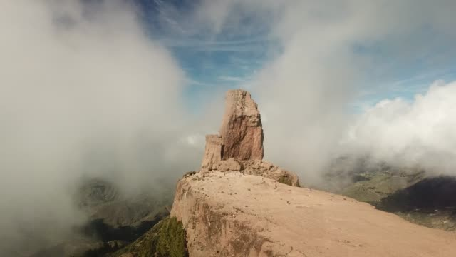 drone footage of roque nublo, gran canaria, spain. - grand canary stock videos and b-roll footage